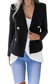 beautife womens blazer long sleeve office wear double breasted