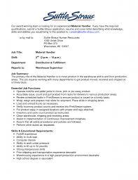 material handler resume resume examples material handler