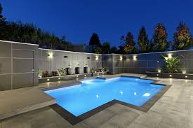 swimming pool outdoor rooms with gurgling water pool and