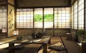 japanese house with chabudai table and cushions on tatami