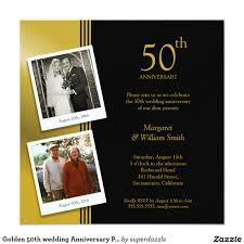 golden 50th wedding anniversary party invitation plus 2 photos