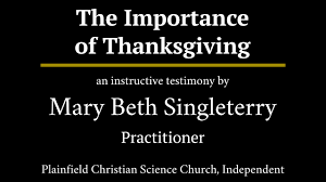 the importance of thanksgiving a testimony