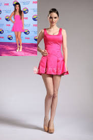 selena gomez pink celebrity cocktail dress with square neck