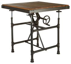 Jackson Bistro Table New Foundry Adjustable Height Dining Table Industrial Indoor