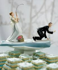 fishing porcelain wedding cake topper caucasian
