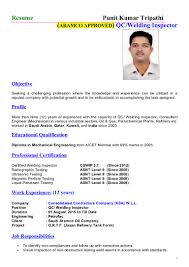 Quality Inspector Resume Punit Tripathi Welding Inspector