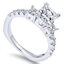princess cut white gold engagement ring 14k white gold 3 princess cut with european shank