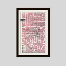 Sparks Nevada Map Reno Nevada Map City Map Street Map 1950s Pink Black And