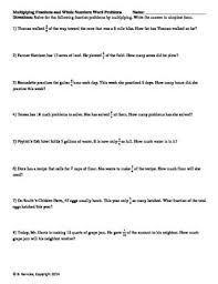 fractions whole and mixed numbers word problems 7 worksheets