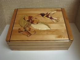 wood jewelry box keepsake box decorated with an intarsia