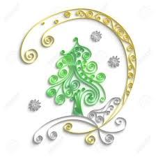 ornamental design of tree on white background 3d