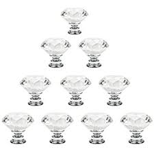 Crystal Cabinet Hardware 10pcs 30mm Glass Clear Cabinet Knob Drawer Pull Handle Kitchen