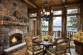 Dining Room Wicker Chairs Rustic Dining Room With Fireplace Chandelier Zillow Digs