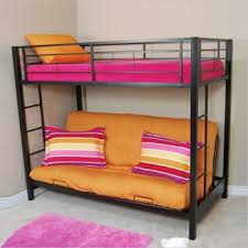 walker edison sunrise metal twin over futon bunk bed frame in black