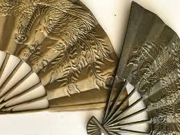 Asian Wall Fans by 2 Solid Brass Fans Wall Plaque Asian Set Of 2 Brass Wall Fan