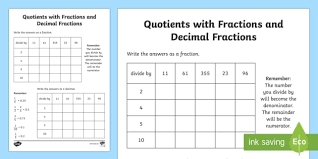 writing decimals as fractions worksheets quotients with fractions and decimal fractions worksheet