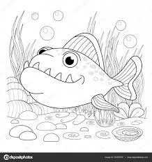 Poisson de dessin animé de fanny Illustration dune page à colorier