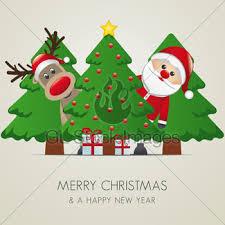 reindeer santa claus christmas tree gift gl stock images
