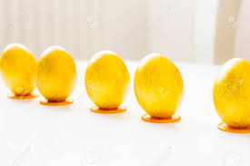 gold easter eggs five gold easter eggs standing in line on the table stock photo