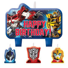 transformer rescue bots party supplies transformers candle set 4 pack party supplies walmart