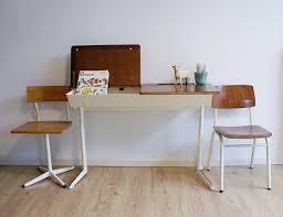 bureau retro vintage schoolbank voor 2 industrieel duo bureau retro lessenaar