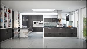 modern l shaped kitchen and dining space in shades of grey