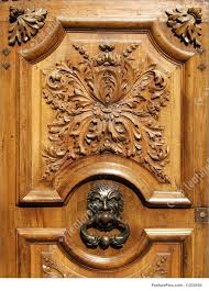 architectural details ancient wooden carved door stock image