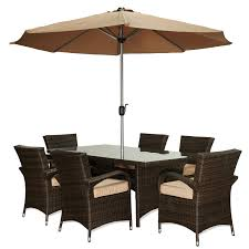 Patio Furniture Dining Sets With Umbrella - the hom bora 8 piece wicker patio dining set