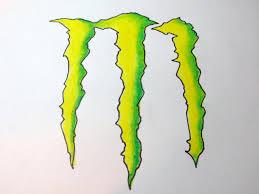 draw monster energy drink logo