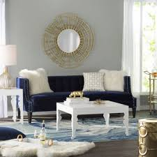 Gray And Gold Living Room by Can U0027t Get Enough Of This Navy Velvet Chair Especially When Paired