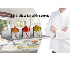 barattoli portaspezie set 3 contenitori in vetro con coperchio e cucchiaio colorato