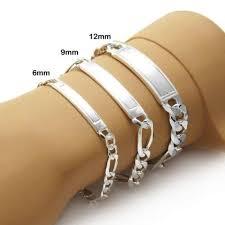 engravable id bracelet sterling silver engravable brushed center figaro id bracelet