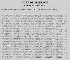acte mariage 10 mariages et divorces