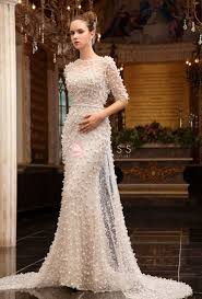 luxury sequin floral elegant off white evening dress with sleeves