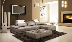 Sofa Set L Shape Wooden Grey Sofa And Ottoman Coffee Table Having Short Wooden Base And