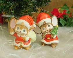 vintage porcelain mice figurine ornament porcelain mouse