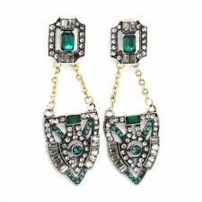 statement earrings sorina warrior sheild pave deco pave sapphire