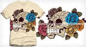 sugar skull with roses t shirt design vector vector t shirt
