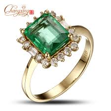 gold emerald engagement rings 18k gold 2 47ctw emerald engagement ring