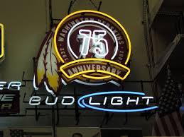 bud light bar light neon beer sign washington redskins bud light nfl football