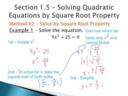 square root of 289 section 1 5 solve by square root property youtube