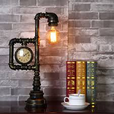 Edison Table Lamp Vintage Industrial Water Pipe Table Light Edison Desk Accent Lamp