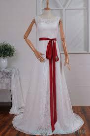 Red Sash High Neck Sheath White Lace Wedding Dress With Red Sash Sheath