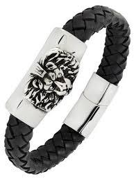 wrist bracelet men images Punk lion braided genuine leather stainless steel wrist band jpg