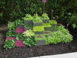 excellent garden landscaping ideas with concrete stone step also
