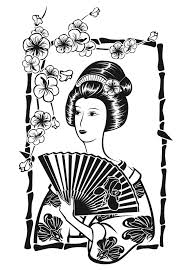 free coloring page coloring japan geisha with fan by