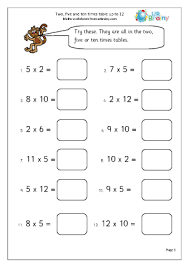 2 x tables worksheet 5 and 10 times table up to 12