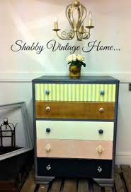tall shabby chic multi coloured chest of drawers tallboy shabby