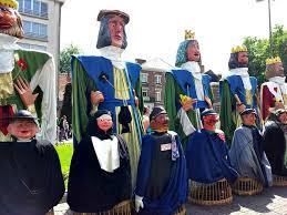 a parade of giants in leuven belgium