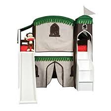 amazon com mission twin low loft bed with tent and stairs finish